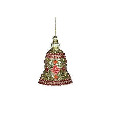 Gisela Graham Red/Gold Crushed Glitter Bell