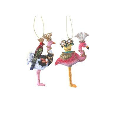 Gisela Graham Resin Ostrich/Flamingo with Parrot/Pot