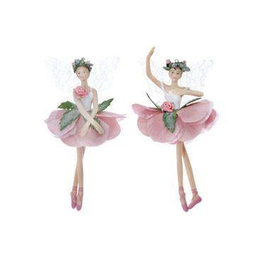 Gisela Graham White/Pink Resin/Fabric Hellebore Fairy