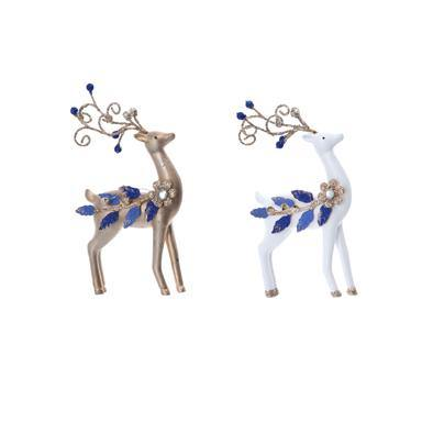 Gisela Graham White/Gold Resin Reindeer with Blue Jewel