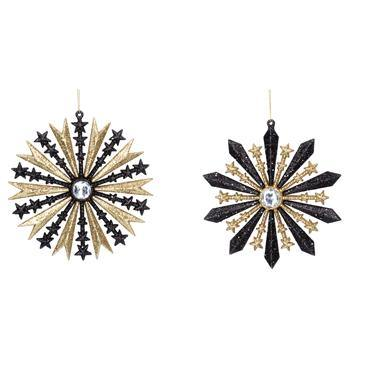 Gisela Graham Black/Gold Glitter Starburst
