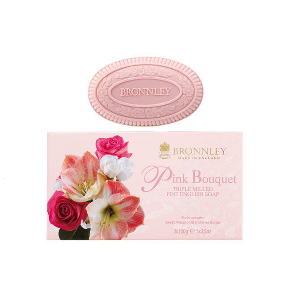 Bronnley Pink Bouquet Triple Milled Soap Set of 3