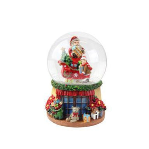 Gisela Graham Santa with Sleigh/Child Music Dome 14cm x 9cm