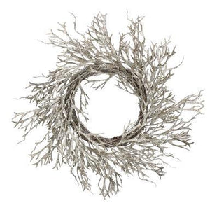 Gisela Graham Twig Wreath with Pale Gold Glitter Seaweed Branch 45cm x 45cm - British Bespoke | Shop Online - South Africa