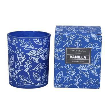 Gisela Graham Blue/White Holly Boxed Candle Pot Small - British Bespoke | Shop Online - South Africa