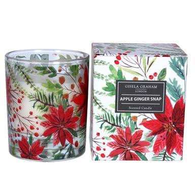 Gisela Graham  Poinsetta Boxed Candle Pot Large