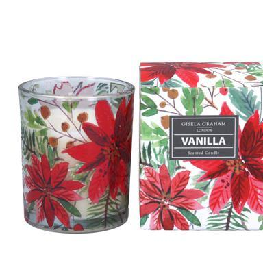 Gisela Graham Poinsettia Boxed Candle Pot Small - British Bespoke | Shop Online - South Africa
