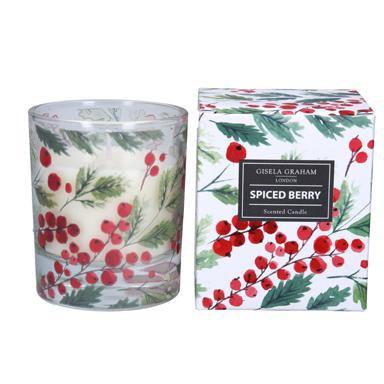 Gisela Graham Red Berry Boxed Candle Pot Large