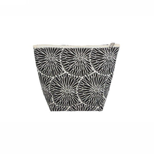 Gisela Graham Black Flowers Canvas Zip Pouch