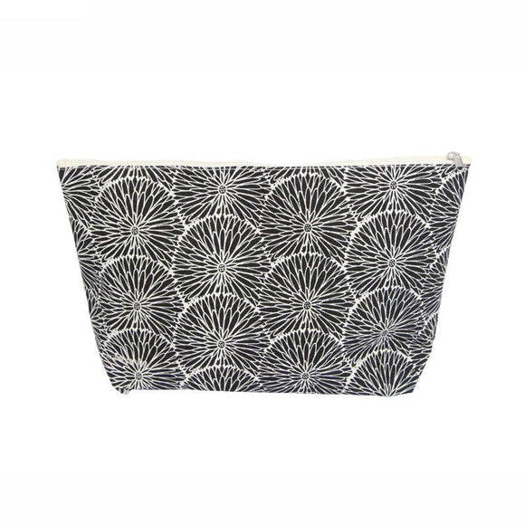 Gisela Graham Black Flowers Canvas Wash Bag/ Toiletry Bag