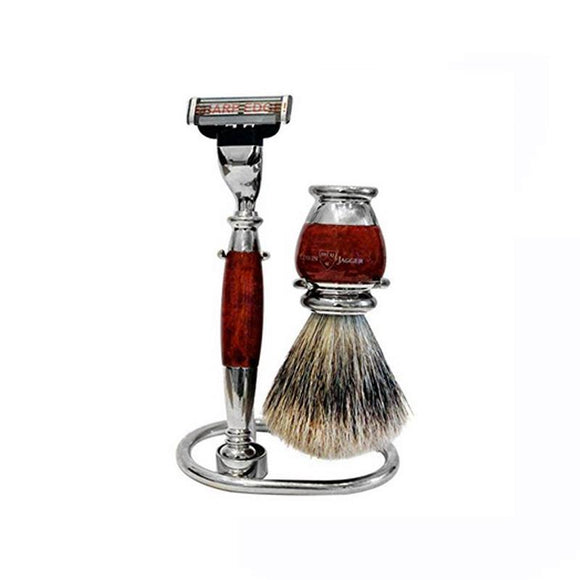 Edwin Jagger 3 piece Briar Wood Shaving Set (Mach 3)