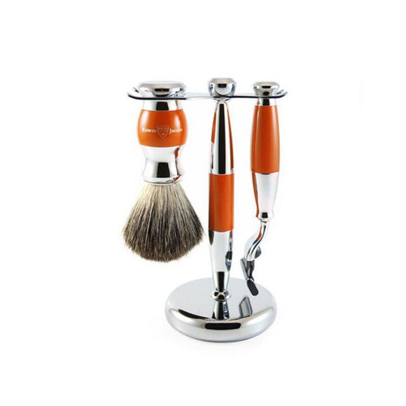 Edwin Jagger 3 piece Orange & Chrome Shaving Set (Mach3)