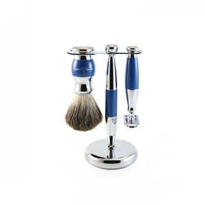 Edwin Jagger 3 piece Blue Double Edge Shaving Set