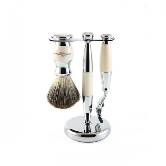 Edwin Jagger 3 Piece Chrome and Ivory Shaving Set (Mach 3)