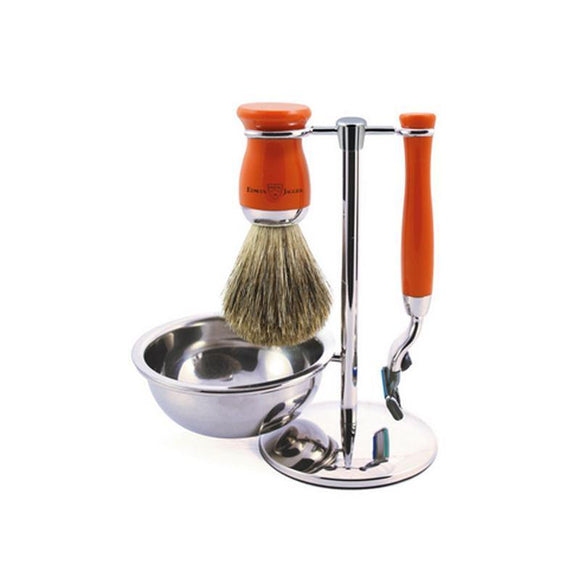 Edwin Jagger 4 piece Orange Shaving Set (Mach3) - British Bespoke | Shop Edwin Jagger Online - South Africa