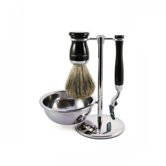 Edwin Jagger 4 piece Black Shaving Set (Mach3) - British Bespoke | Shop Edwin Jagger Online - South Africa