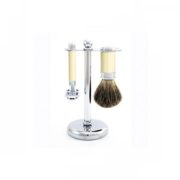 Edwin Jagger 3 piece Ivory & Chrome Double Edge Set