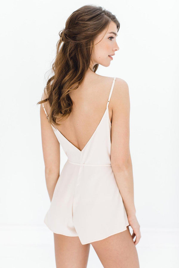 Dreamy Day Silk Romper in Blush
