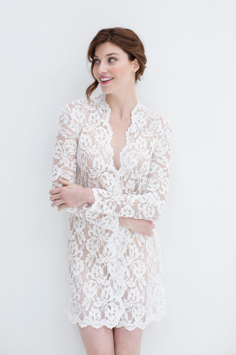 Lauren Lace Robe in Ivory