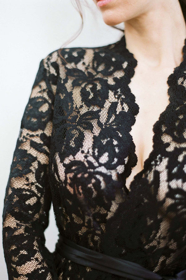 Lauren Lace Robe in Black