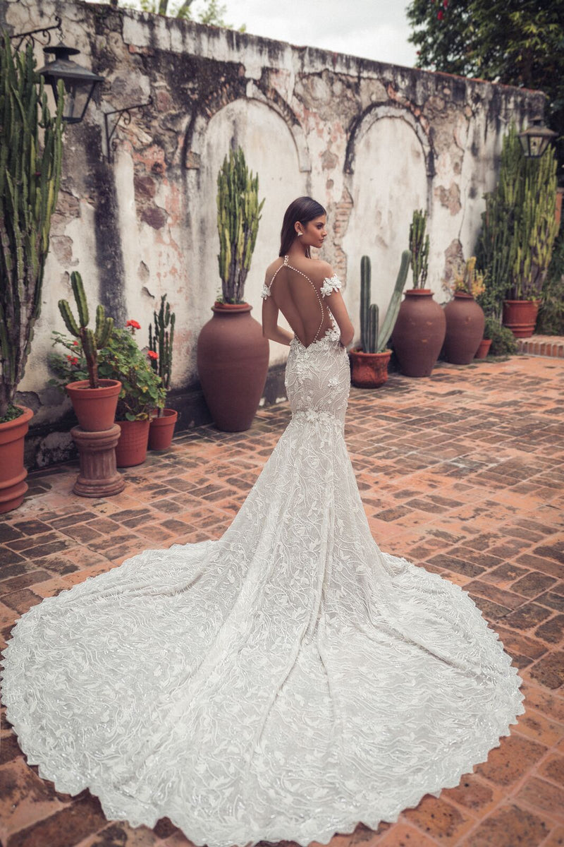 1712 Julie Vino Lini Gown off the shoulder wedding dress. San Miguel Collection