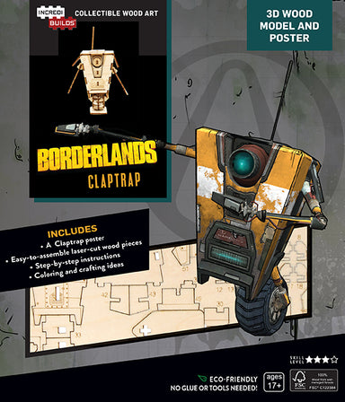 Incredibuilds Borderlands Claptrap 3D Wooden Model and Poster