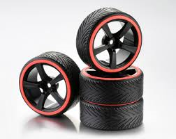 Absima 1/10 Drift Wheel Set 5 Spoke Profile A Black Rim/Neon Orange ring 4Pcs