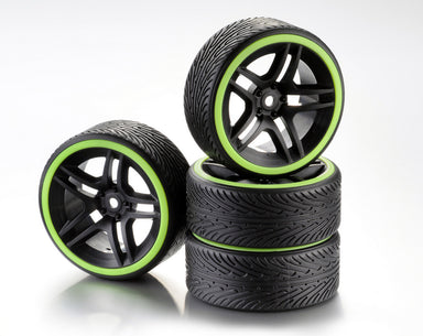 Absima 1/10 Drift Wheel Set 10 Spoke Profile B Black Rim/Neon Yellow ring 4Pcs