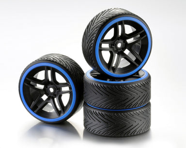 Absima 1/10 Drift Wheel Set 10 SPoke Profile A Rim Black/Blue Ring 4Pcs