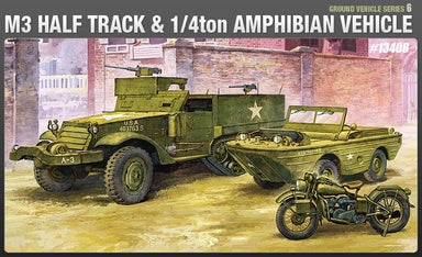 Academy 1/72 M3 Half Track Plus 1/4 Ton Amphibian Vehicle