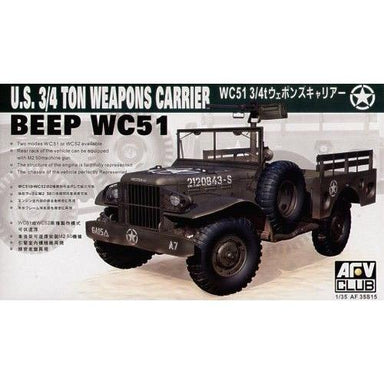 AFV Club 1/35 Jeep WC51 3/4T Weapons Carrier Plastic Model Kit