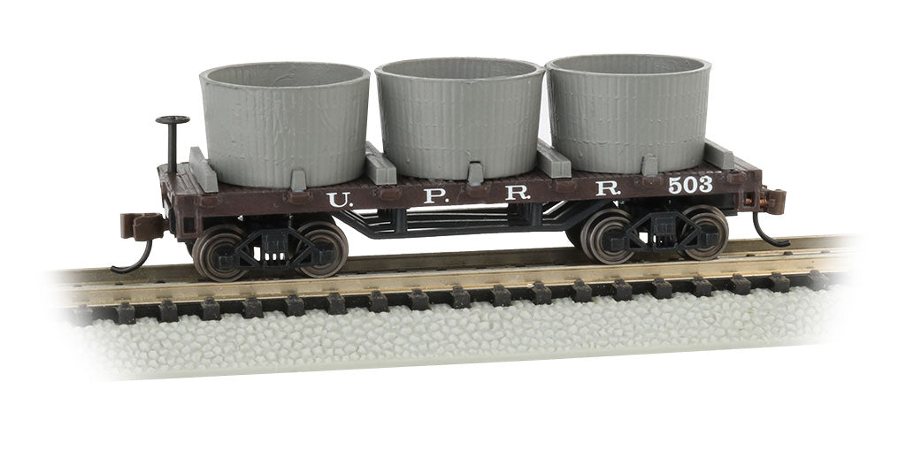Bachmann N Old-Time Wood Tank Car with 3 Tanks - Ready to Run - Union Pacific 503 (Boxcar Red)