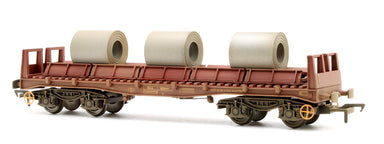 Bachmann OO BR BAA Steel Carrier Wagon BR Brown with CoilsWeathered