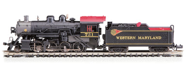 Bachmann N Baldwin 2-8-0 Consolidation - Sound and DCC - Western Maryland #751 (black, graphite, red, yellow; Fireball Logo)