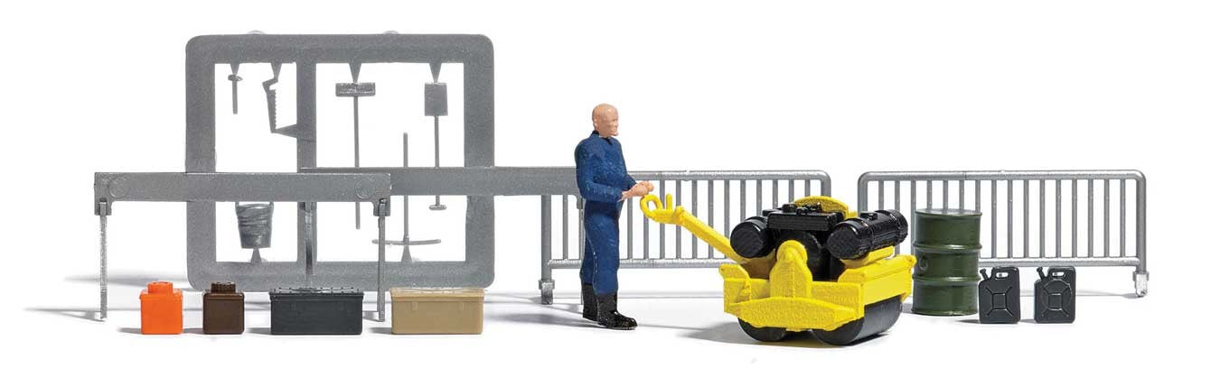 Busch HO Roller with Figure and Accessories