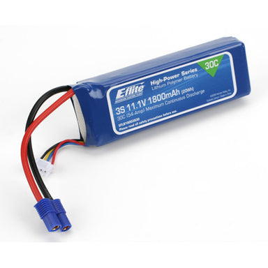 E-Flite EFLB18003S30 1800mah 3S 11.1v 30C LiPo Battery with EC3 Connector