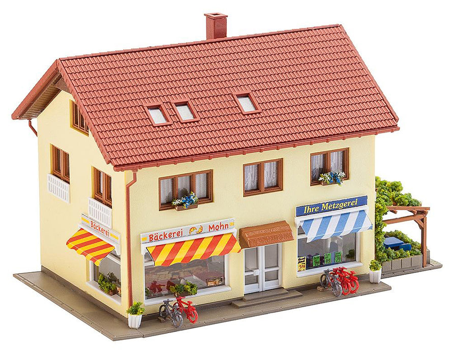Faller Gmbh N Butcher Shop & Bakery - Kit - 4-1/2 x 3-1/4 x 3in 11.4 x 8.3 x 7.6cm