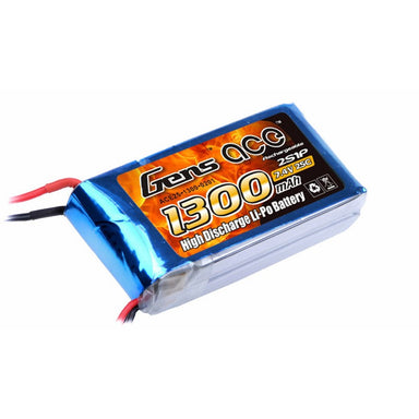 Gens Ace 1300mAh 2S 7.4V 25C Soft Case Battery (Deans Plug)