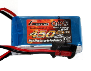 Gens Ace 450mah 3S 11.1v 30C Lipo Battery JST
