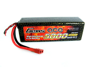 Gens Ace 5000mAh 3S 11.1V 40C Hard Case Lipo Battery (Deans Plug)