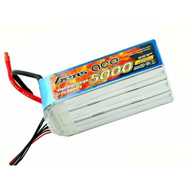 Gens Ace 5000mAh 22.2V 6S 60C Soft Case Lipo Battery (EC5 Plug)