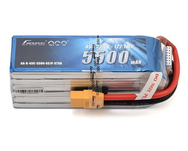 Gens Ace 5500mAh 6S 22.2V 45C Soft Case LiPo Battery (XT90 Plug)