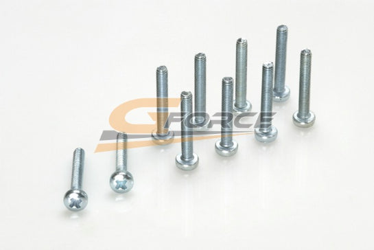 Gforce Pan Head Screw M2X6. Galvanized Steel 10Pcs