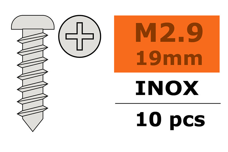 Gforce Self-Tapping Pan Head Screw 2.9X19. Inox 10Pcs