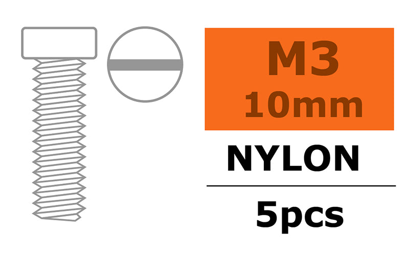 Gforce Pan Head Screw M3X10. Nylon 5Pcs