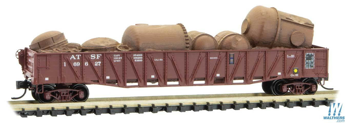 Micro Trains Line N 50ft Composite Gondola with Fishbelly Sides, Drop Ends, Scrap Load - Ready t - Santa Fe 169627 (Boxcar Red, ACI Label)
