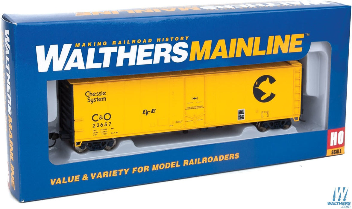 Walthers Mainline HO 50ft PC&F Insulated Boxcar - Ready to Run - Chessie System C&O #22657 (yellow, blue)