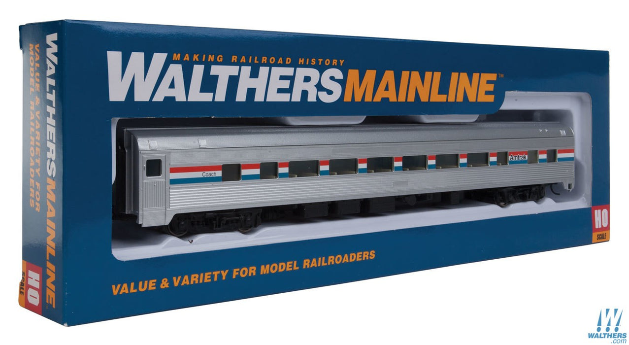 Walthers Mainline HO 85ft Budd Large-Window Coach - Ready to Run - Amtrak (Phase III; silver, Equal red, white, blue Stripes)