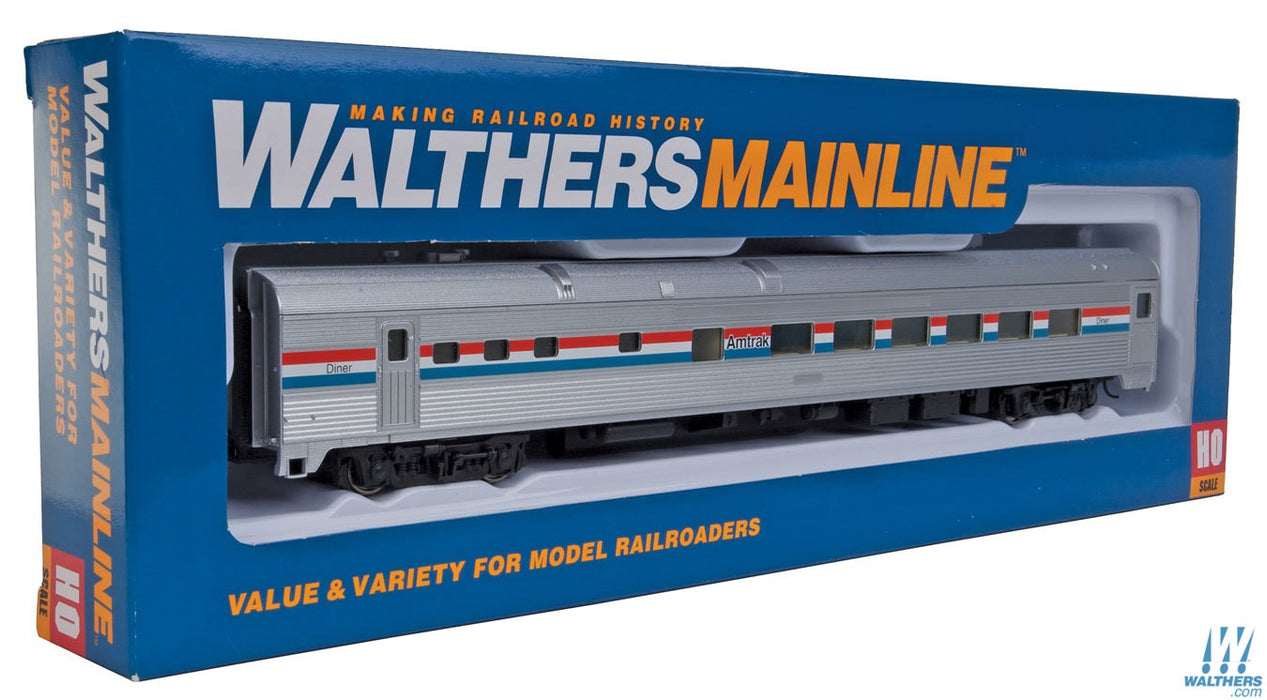 Walthers Mainline HO 85ft Budd Diner - Ready to Run - Amtrak (Phase III; silver, Equal red, white, blue Stripes)
