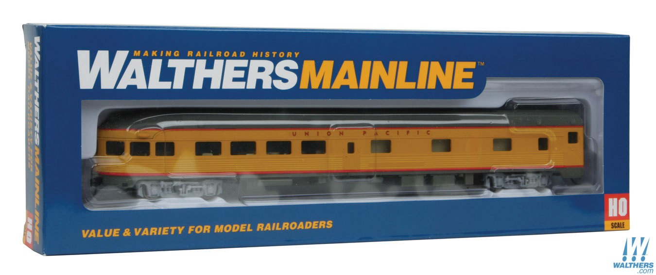Walthers Mainline HO 85ft Budd Observation - Ready To Run - Union Pacific(R) (Armour Yellow, gray)